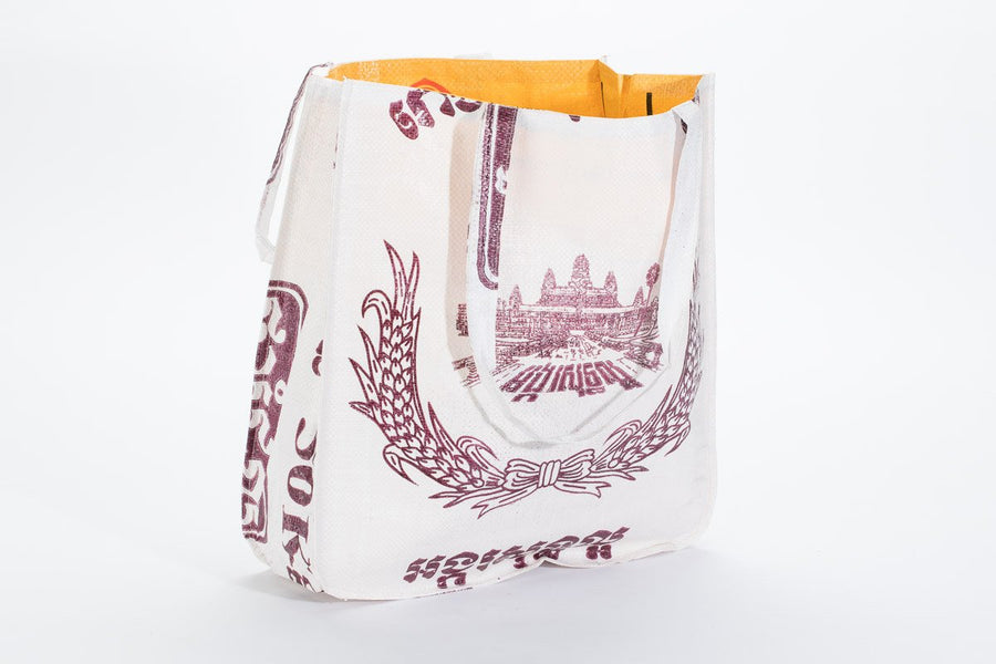 Simple Square White Tote Bag - Angkor Wat