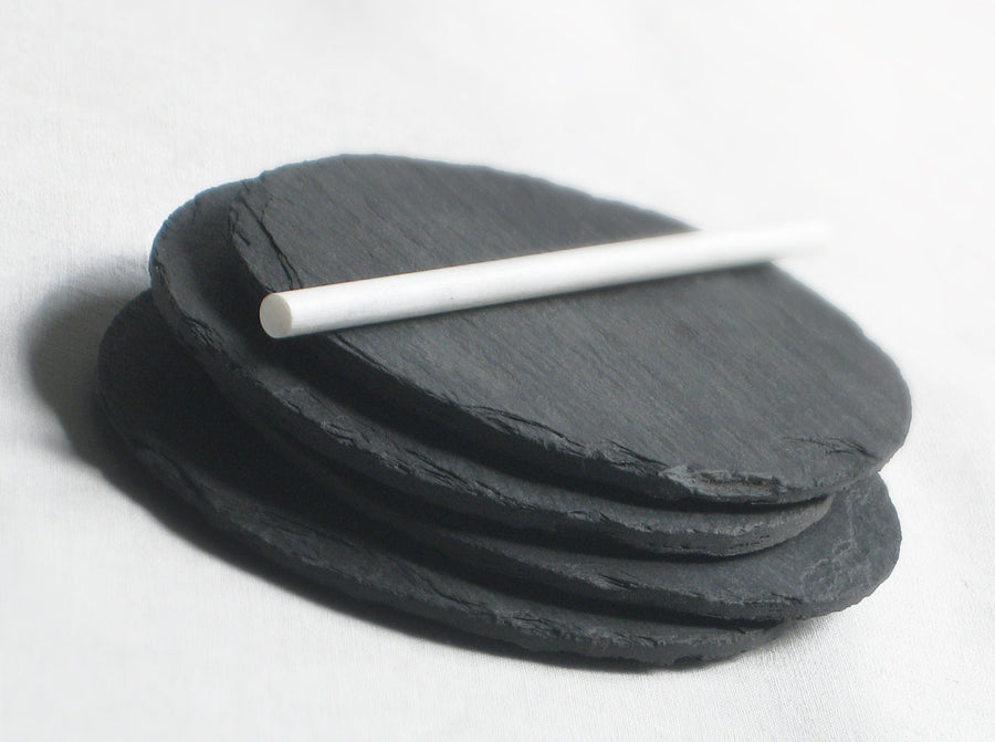 Salvaged Slate Round Black Coasters (Set of 4)