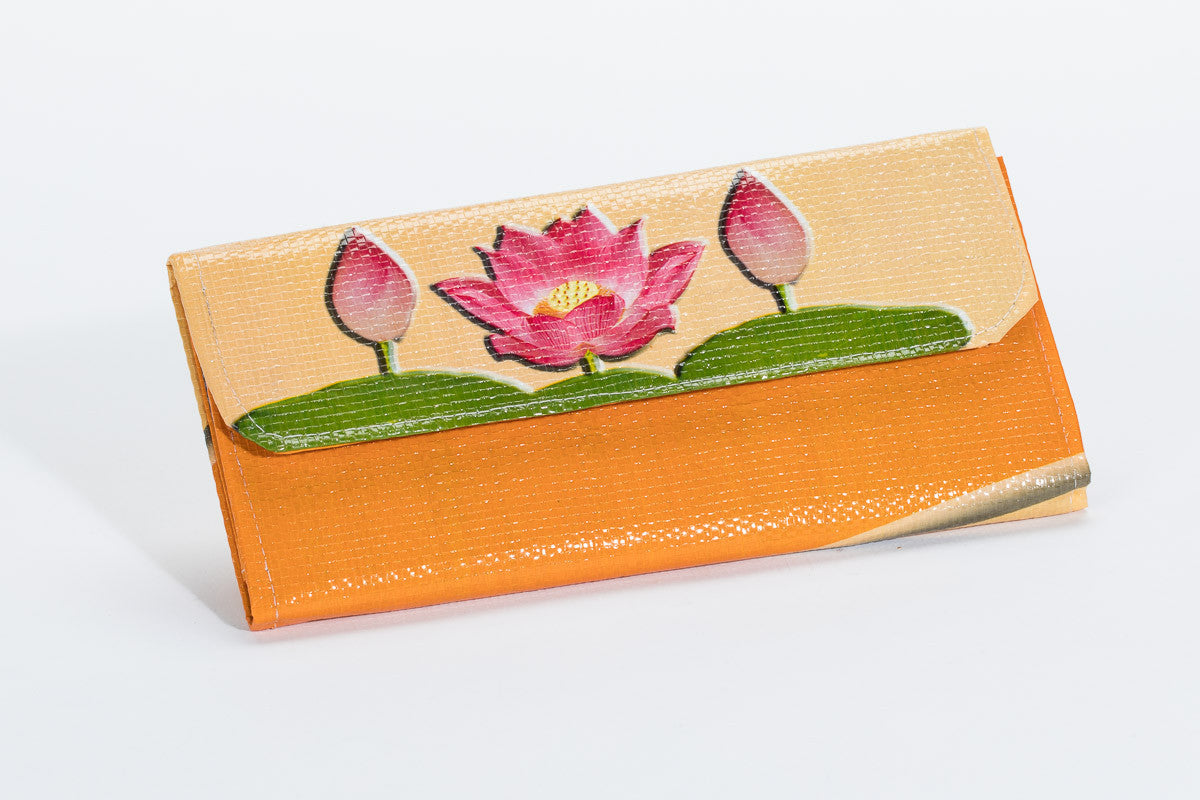 Fair Trade Yellow Lotus Flower Snap Wallet The Spotted Door