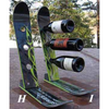 Snow Ski Wine Rack 3 Bottle (Green Elan)