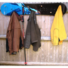 Snowboard Coat Rack with Wooden Pegs