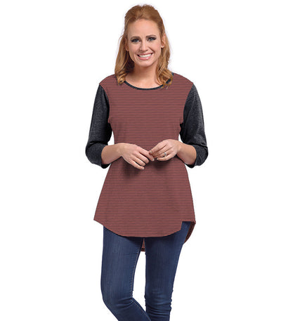 Snowdrop Eco-Friendly Top - Charcoal/Coral