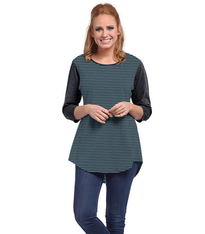 Snowdrop Eco-Friendly Top - Charcoal/Turquoise