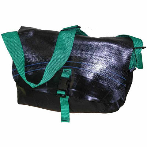 Soho Recycled Rubber Messenger Bag (Green Strap)