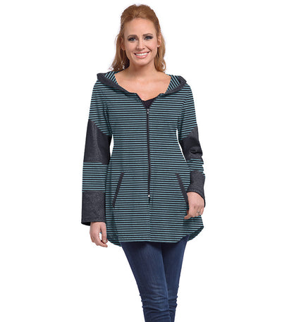 Stargazer Ladies Cardigan - Charcoal/Turquoise
