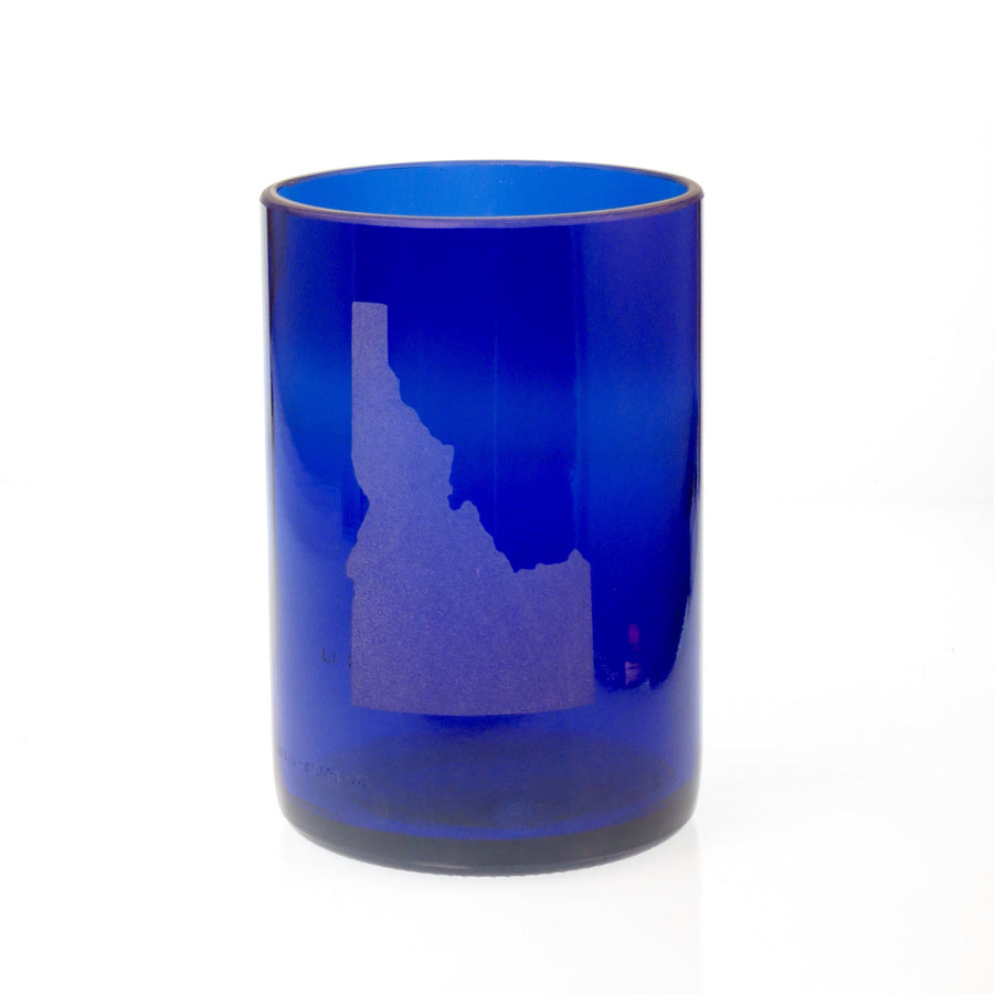 Cobalt Blue State Embossed Lowball Glass