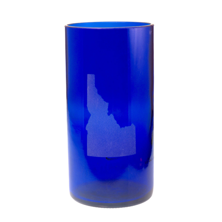 Cobalt Blue State Embossed Highball Glass
