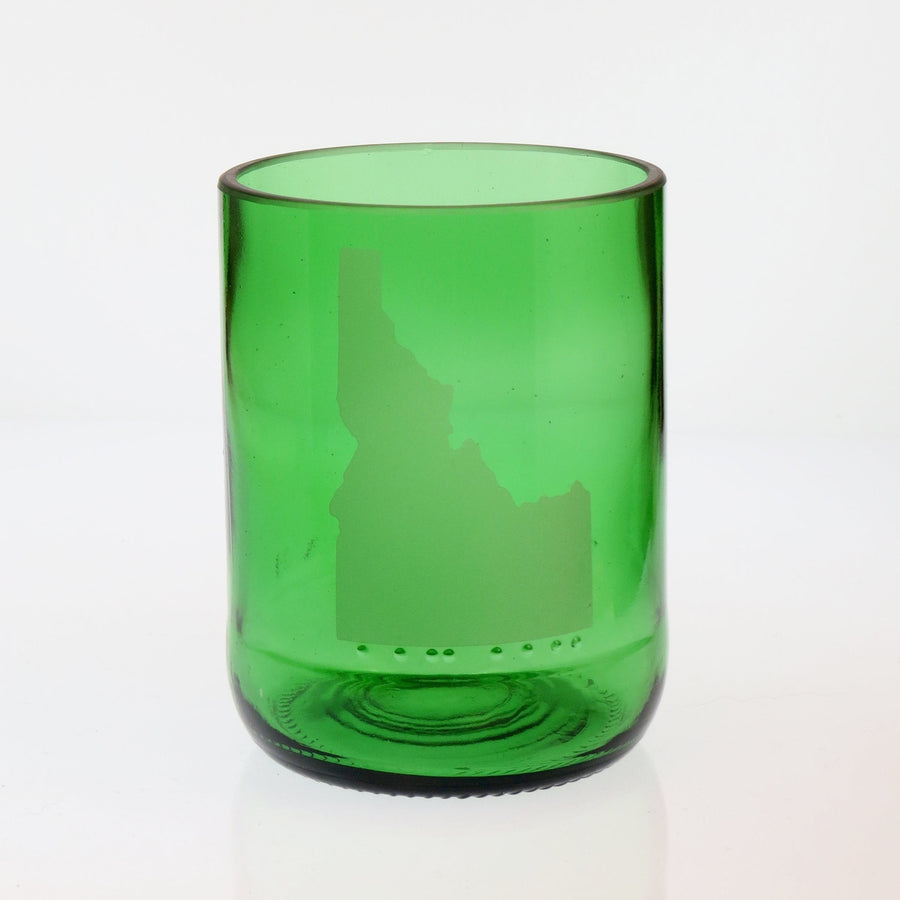 Green State Embossed Lowball Glass