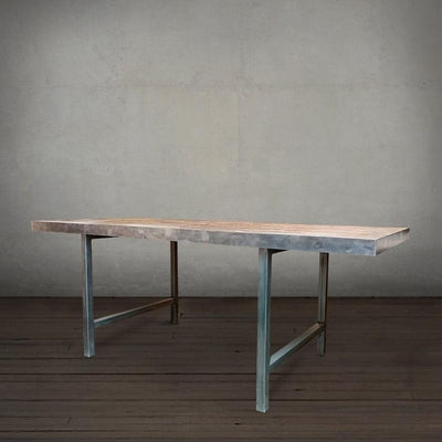 Tall Reclaimed Wood and Metal Table