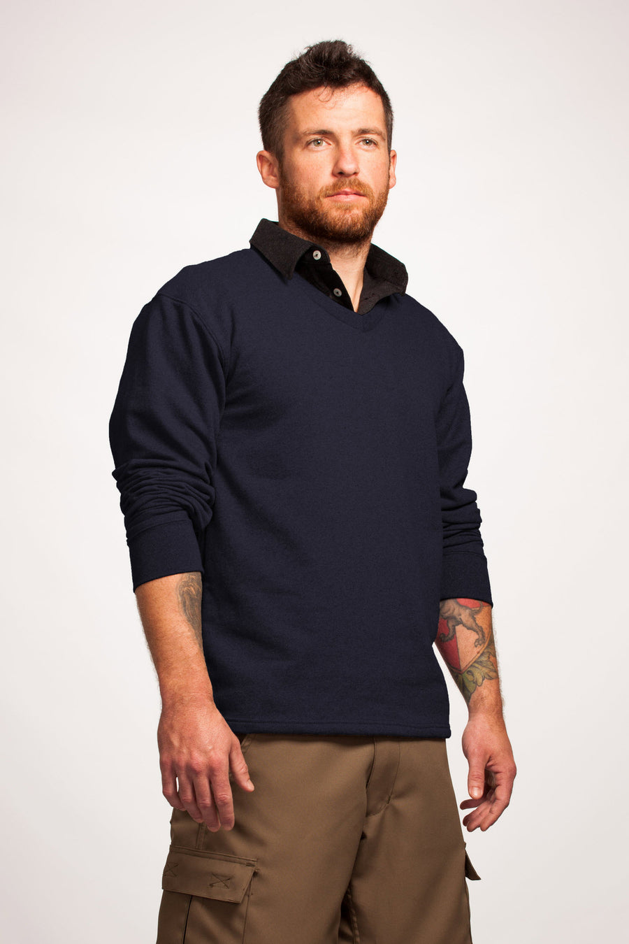 Men's Navy V-Neck Sweater