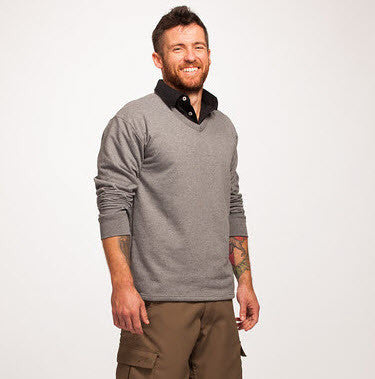 Men's Grey Recycled V-Neck Sweater