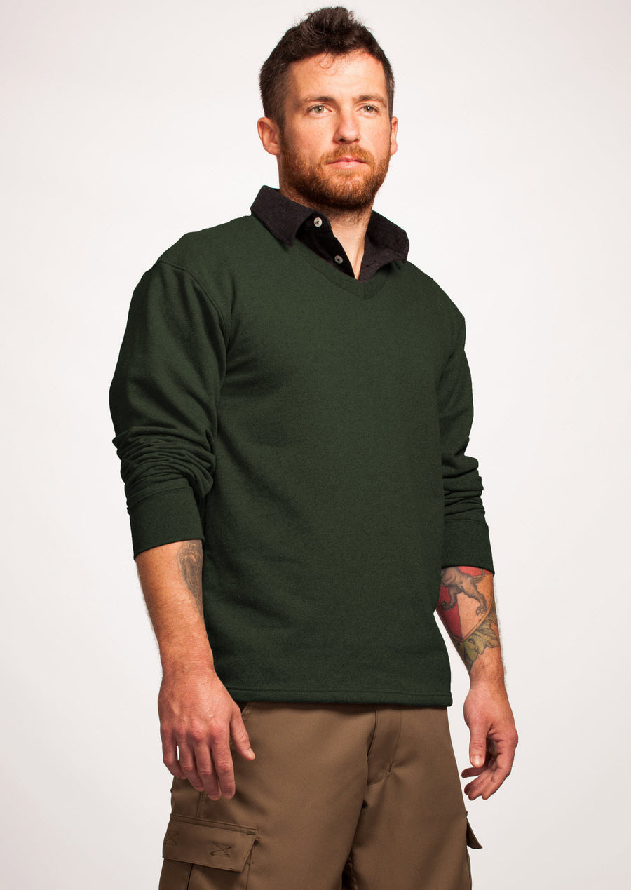 Men's Green V-Neck Sweater