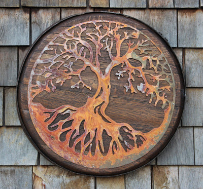 Tree of Life Art on Whiskey Barrel Top