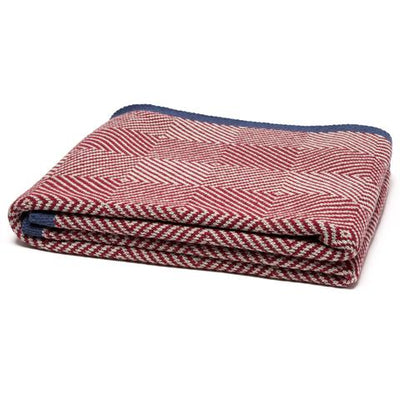 Eco Woven Square Throw Blanket (Pomegranate/Flax/Slate)