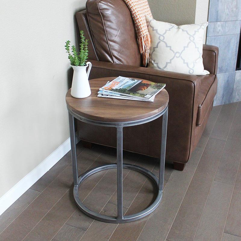 Walnut Wood Round Metal End Table