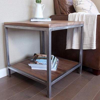 Walnut Wood Square Metal Side Table with Two Tiers
