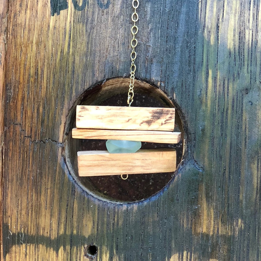 Make An Eye Catching Jewelry Stand From Plumber S Copper: Leather Bar Necklace Wood Bar Necklace With Teal Accents And