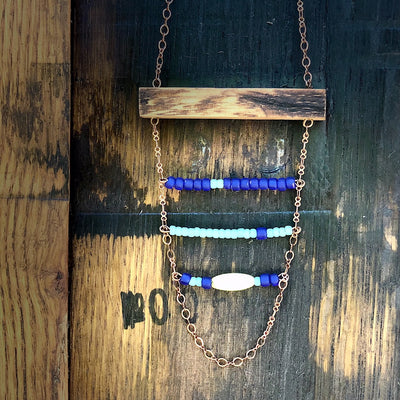 Reclaimed Whiskey Barrel & Bead Necklace
