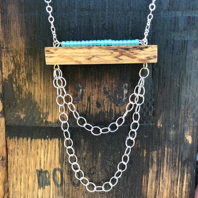 Whiskey Barrel & Turquoise Horizon Necklace
