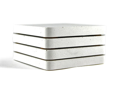 White Concrete Coasters Set