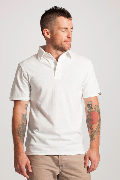 Men's Recycled Plastic White Polo Shirt