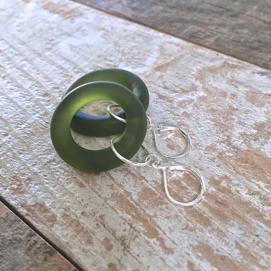 Olive Wine Bottle Silver Hoop Earrings