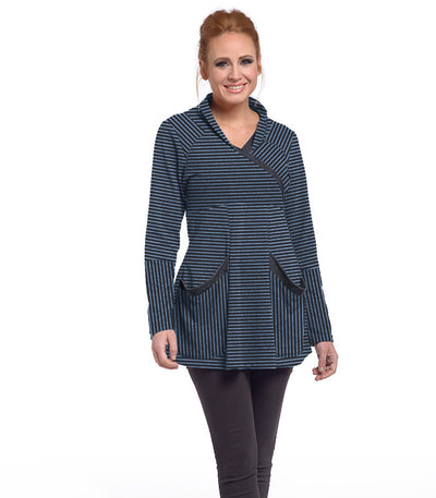 Zinnia Tunic Eco-Friendly Top - Charcoal/Chamblue