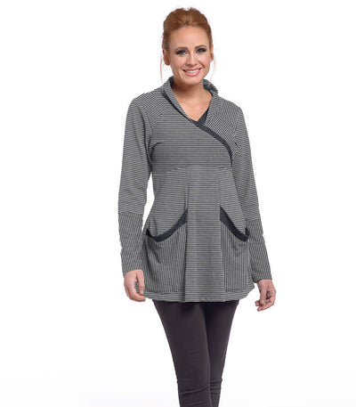 Zinnia Tunic Eco-Friendly Top - Charcoal/Cloud