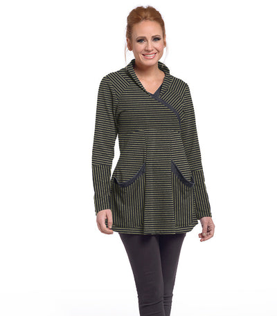 Zinnia Tunic Eco-Friendly Top - Charcoal/Olive