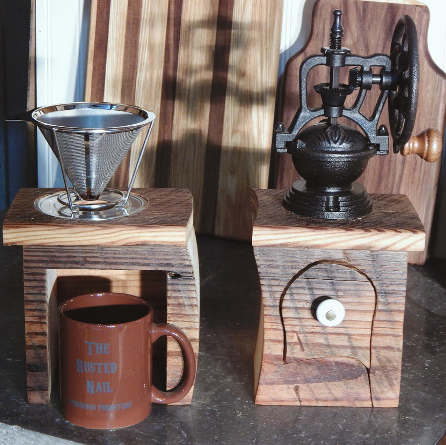 Coffee Grinder & Dripper Handmade from Reclaimed Wood
