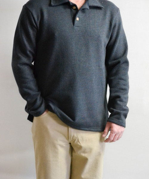 Blue Grey Long-Sleeve Polo Shirt
