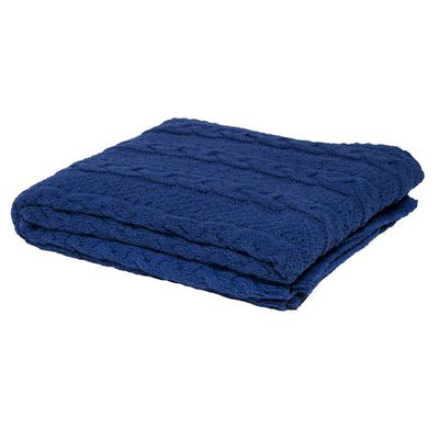 Eco Chunky Cable Throw Blanket (Cobalt)