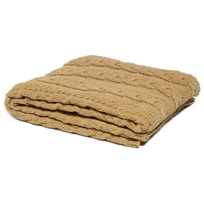 Eco Chunky Cable Throw Blanket (Straw)