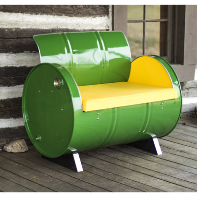 Drum Barrel Green Metal Armchair