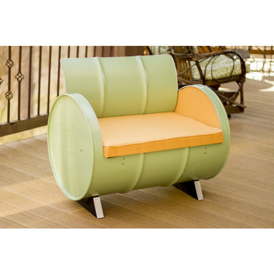 Drum Barrel Metal Green Mango Armchair