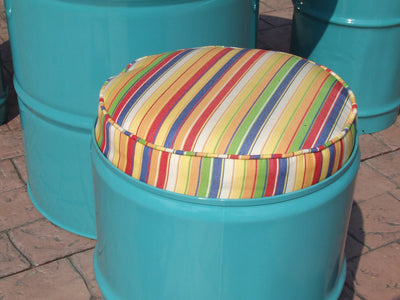 Close-up of drum barrel stool