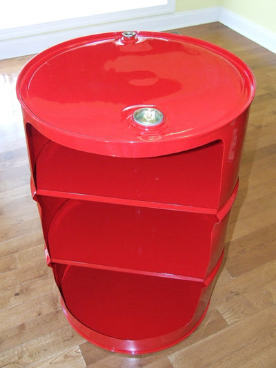 Reclaimed Metal Drum Barrel Red Shelf