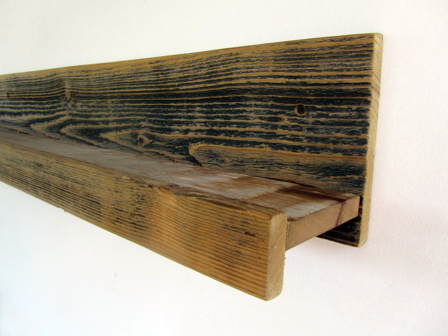 "36"" Rustic Reclaimed Wood Ledge Shelf"
