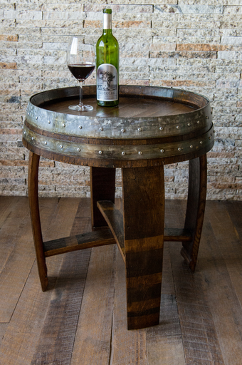 Wine Barrel End Table with Cross Braces, Dark Walnut Stain
