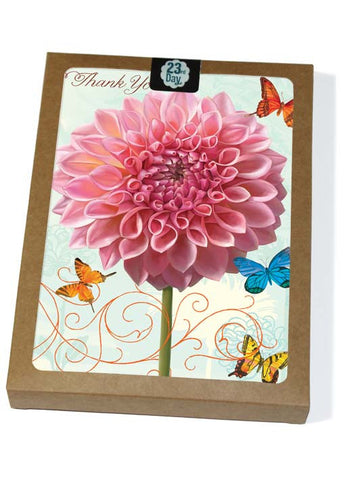 Yellow Pink Dahlia Boxed Cards
