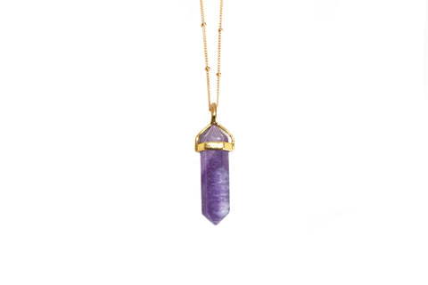 Amethyst pendant necklace | gold