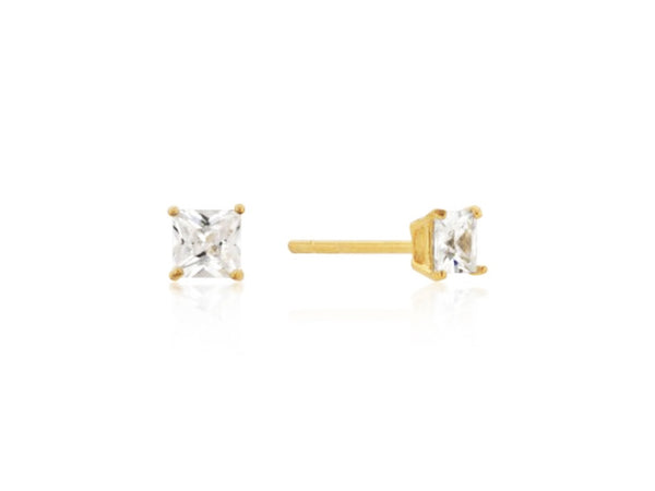 CZ Princess Cut stud earrings |  gold