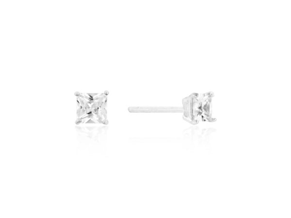 CZ Princess Cut stud earrings |  silver