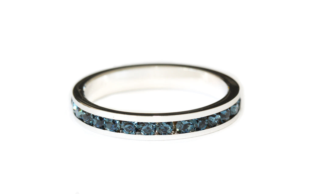 Blue crystal stacking ring