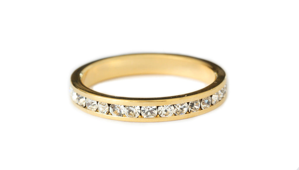 Gold Crystal stacking ring