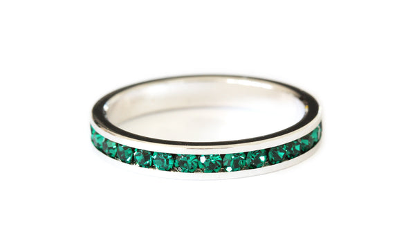 Green stacking ring | silver