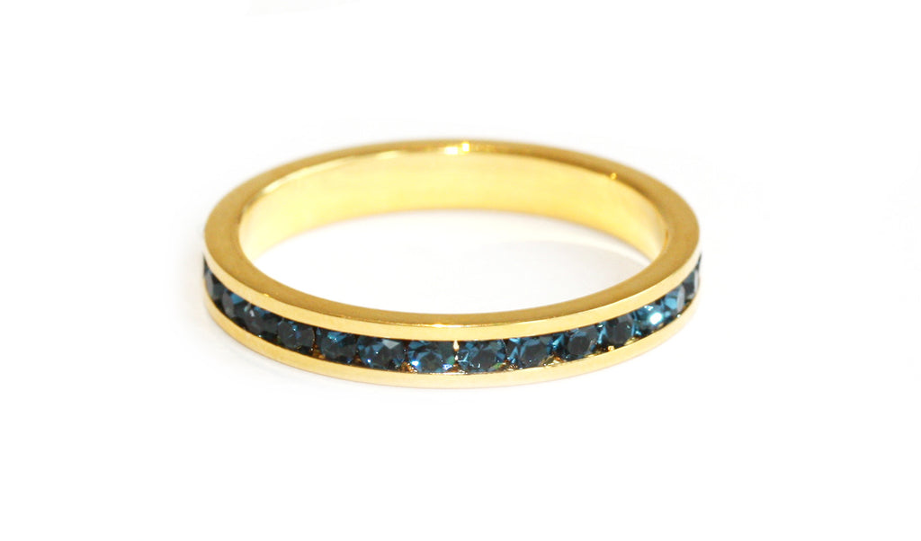 Blue stacking ring | Gold