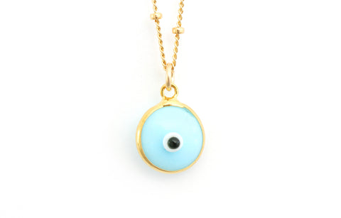 Pale blue evil eye necklace