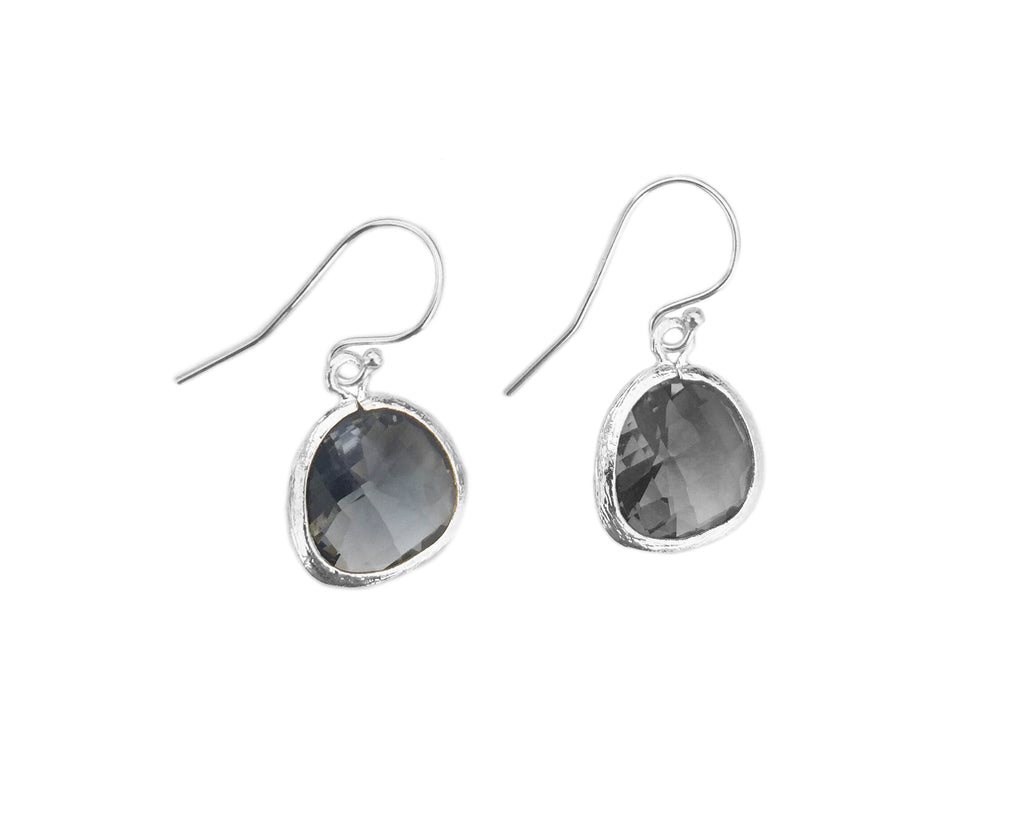 Grey crystal earrings | Silver
