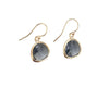 Grey crystal earrings | Gold